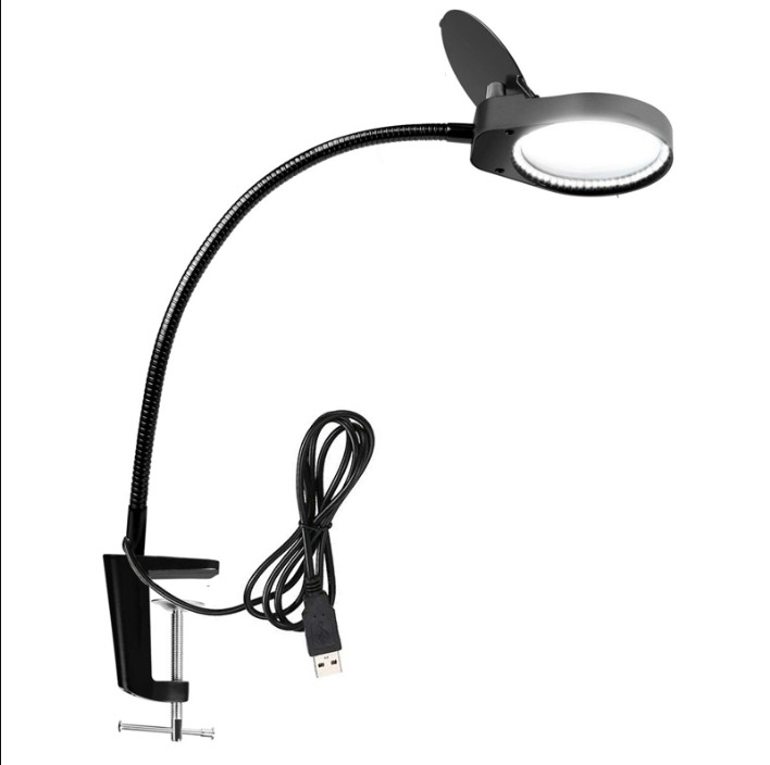 Illuminating Magnifier High Magnification 8X 15X Magnifying Glass with Led Lights Table Clamp Lamp