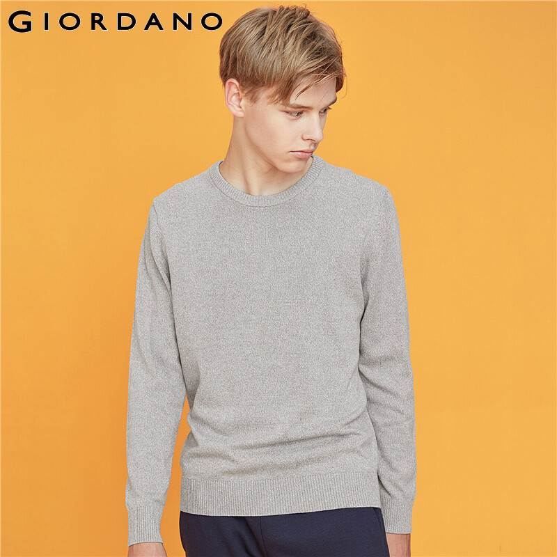 Giordano Men Sweaters Crewneck Long Sleeve Knitted Pullover 100% Coton Soild Color Slight Stretechy Chompa Hombre 33059802