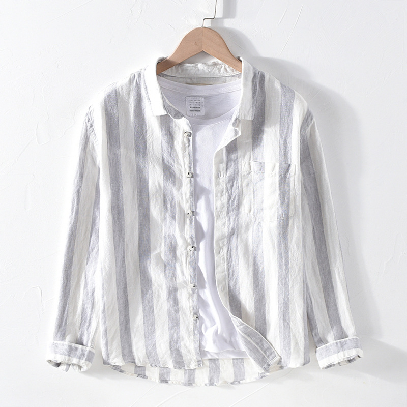 2020 Men's Long Sleeve Shirts 100%Linen Summer Casual Striped Shirts Man Turn-down Collar Blouse Tops Y2468