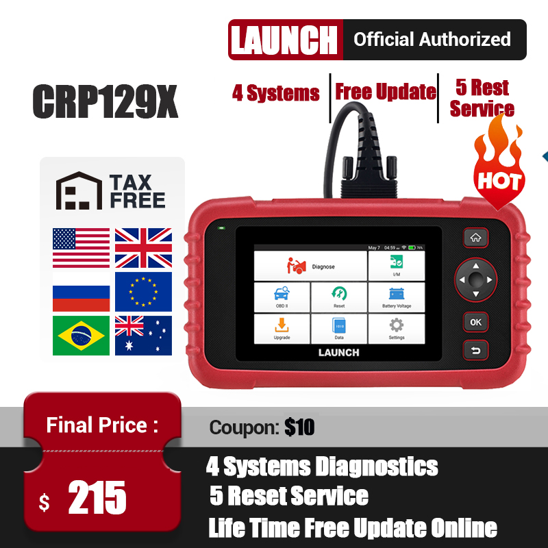 LAUNCH X431 CRP129X OBD2 Scanner OBDII Automotive Auto Code Reader OBD Diagnostic Tool ABS SRS Transmission Engine Oil EPB TPMS
