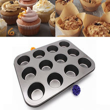 12 Cups DIY Cupcake Baking Tray Tools Non-stick Steel Mold Egg Tart Baking Tray Dish Muffin Cake Mould Round Biscuit Pan 2020(China)