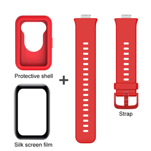 Image 3 - 3in1 full cover protect shell for huawei watch fit strap+fiberglass soft silicone back coque for hauwei watchfit shockproof case