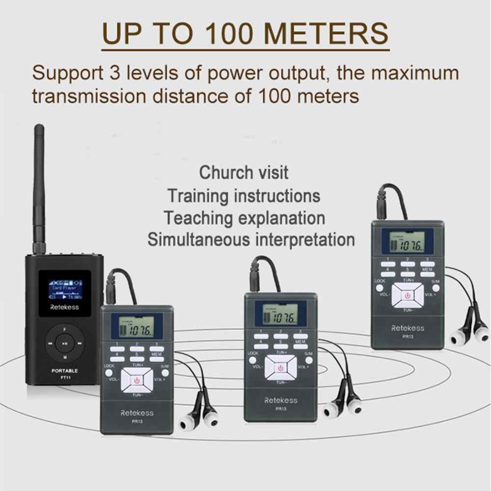 1 เครื่องส่งสัญญาณFM FT11 + 10 เครื่องรับวิทยุFM PR13 Wireless Voice TransmissionระบบสำหรับGuidingโบสถ์การฝึกอบรมการประชุม