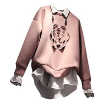 Autumn 2019 Women Sanitary Clothes Fake Two with All Sets of Stereo Flowers Pullovers Sweatshirt