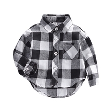 Autumn Shirts Baby Boys Long Sleeve Plaid Kids Tops Tees Casual Blouse