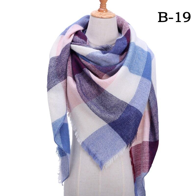 Женский зимний шарф в ретро стиле, кашемировые вязаные пашмины шали, женские мягкие треугольные шарфы, бандана, теплое одеяло, новинка - Цвет: bb19