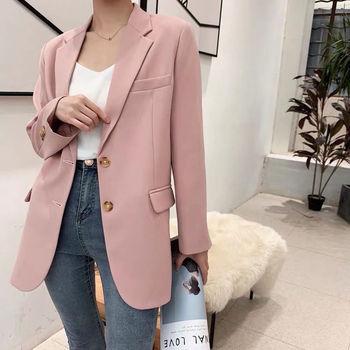 Pink Blazer Women's Korean Version British Fashion Chic Streetwear Office Ladies Elegant Casual Loose Long Sleeve Jacket 1