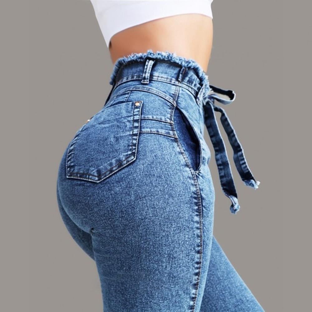 Hot Plus Size Fashion Belted High Waist Skinny Jeans Women Stretch Denim Long Pants Skinny Jeans Women Stretch Denim Long Pants