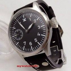 44mm corgeut czarna sterylna tarcza PVD etui szafirowe szkło ręczne nakręcanie Luminous Mans luksusowy zegarek marki
