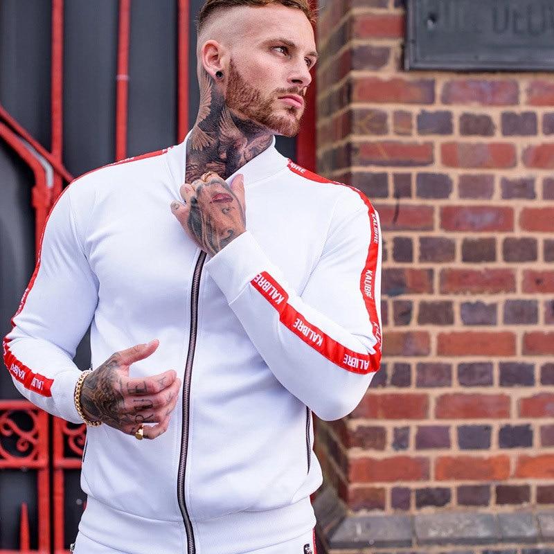 2019New Men Casual Zipper Set Stitching Stripe Autumn Tracksuit Set Male Sweatshirt Multi-pocket Fashion High Street Jackets Set