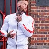 2019New Men Casual Zipper Set Stitching stripe Autumn Tracksuit Set Male Sweatshirt Multi pocket Fashion High Street Jackets Set