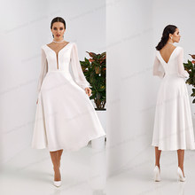 Short Wedding Dress 2021 White ivory Bridal Dress Backless Knee Length White Bride Gowns High quality Satin Wedding Party Dress