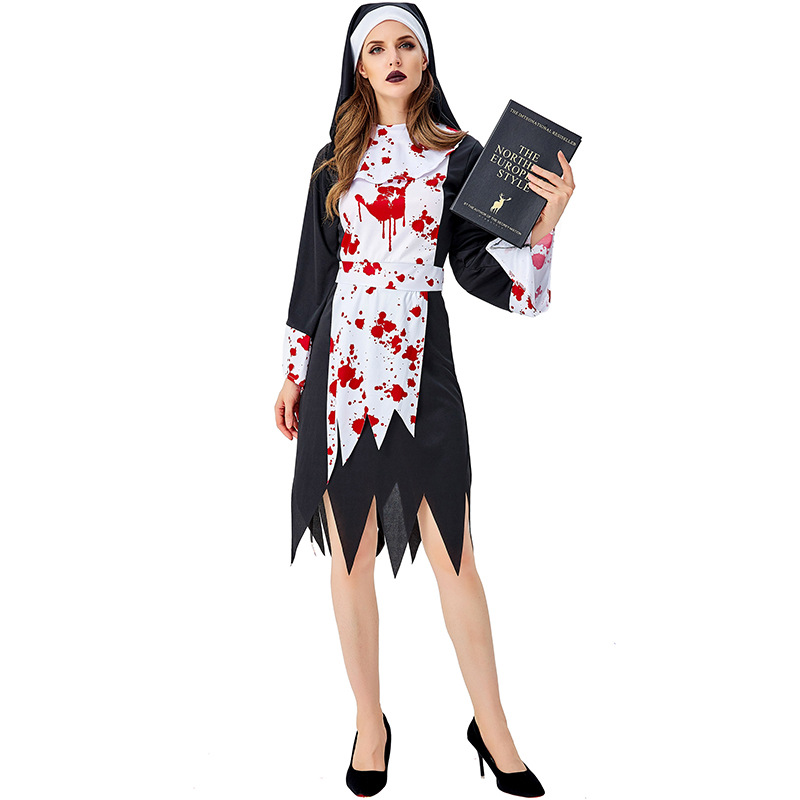 Bloody Nun Costume Cosplay For Adult Halloween Women Scary Monastery Suit Carnival Party Dress Up