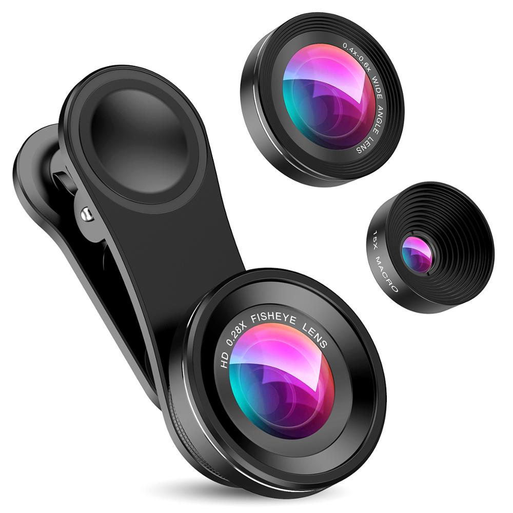 3 IN 1 Phone Lens Fisheye 0.4x Wide Angle Zoom Lens Fish Eye 15x Macro Lenses Camera Kits with Clip For iPhone Samsung Xiaomi