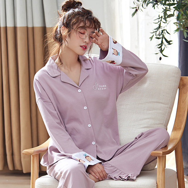 Autumn Winter Cotton Printing Lapel Top + Long Pant 2 Piece Sets Pajamas Set For Women Cute Sleepwear Pyjama Puls Size Homewear