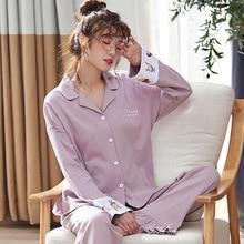 Outono inverno algodão impressão lapela topo + calça longa 2 peça define pijamas conjunto para feminino bonito pijamas puls tamanho homewear