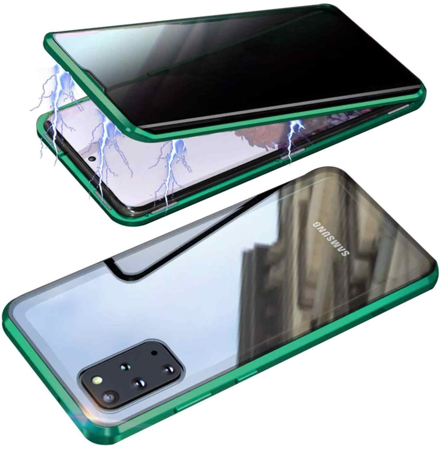 Privacy Gehard Glas 360 Volledige Cover Magnetische Telefoon Case Voor Samsung Galaxy S20 Ultra S10 Plus S9 S8 Note 10 a50 A70 A30S Metalen