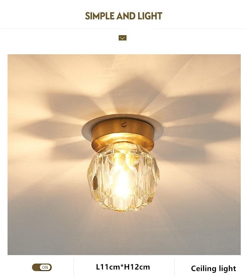 luz do corredor de cristal lâmpada do