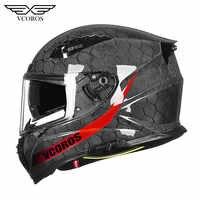 Vcoros VF-602 Full Face Carbon Fiber Motorcycle Helmet With Double Lens Casco Moto capacete fibra de carbono DOT capacete moto