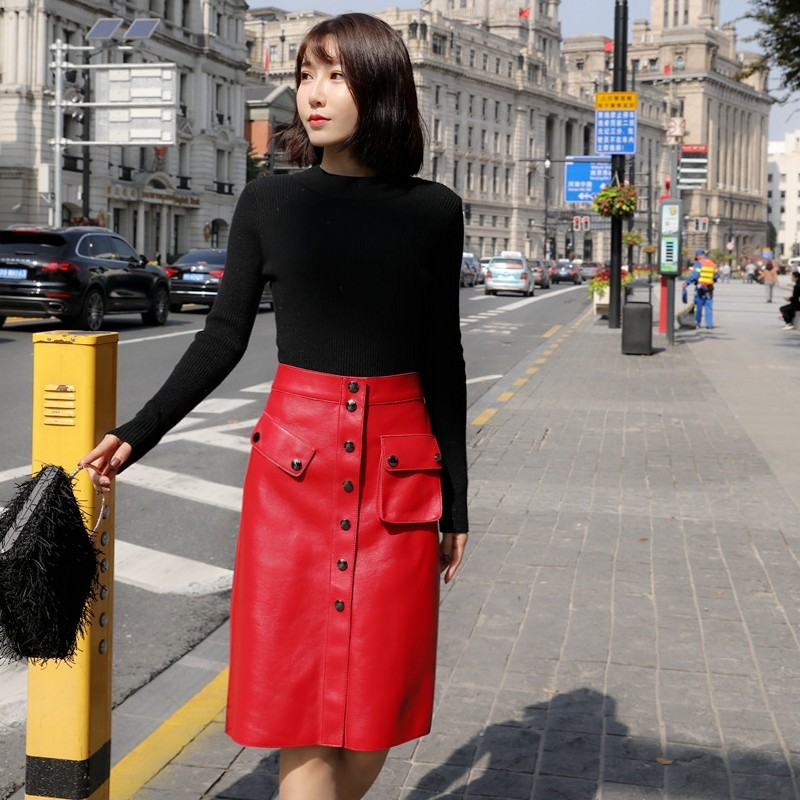 Top Quality Genuine Leather Womens Knee Length Skirts High Waist Single Breasted Pockets Office Ladies Sheepskin A-Line Skirts