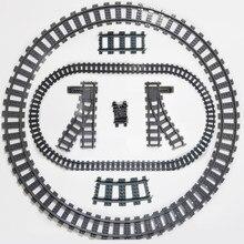 Peças de reposição para o trem da cidade de ausini tracks interruptor de passagem de trilho bloco de construção tijolo curvado em linha reta conjuntos ferroviários 10-100 pces