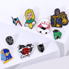 Marvel avengers pins ป้ายโลหะคุณภาพสูงเข็มกลัด pins deadpool iron man pins groot pins thor black panther pins spiderman(China)
