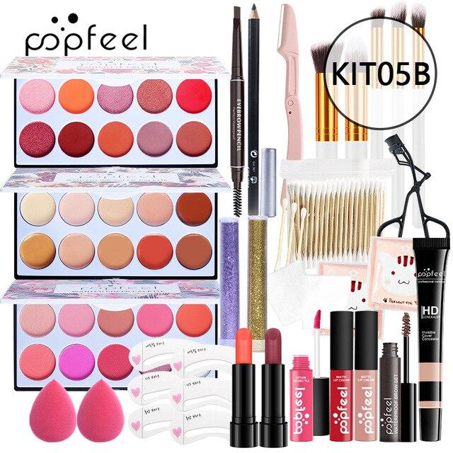Juego de maquillaje completo, ceja de lápiz labial, brillo de labios, base de brocha para maquillaje en polvo, Kit de cosméticos con bolsa de maquillaje 3