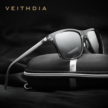 VEITHDIA marka okulary Unisex Retro aluminium + TR90 soczewki polaryzacyjne do okularów rocznika okulary dla mężczyzn kobiet 6108 tanie i dobre opinie CN (pochodzenie) SQUARE Dla osób dorosłych Magnes aluminium MIRROR Fotochromowe Przeciwodblaskowe UV400 50 mm Z poliwęglanu