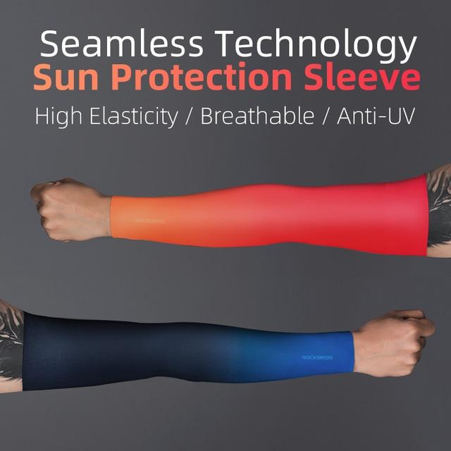 Rockbros cycling arm sleeves sun protection anti-uv ice silk seamless sleeves running basketball compression sleeves arm warmer