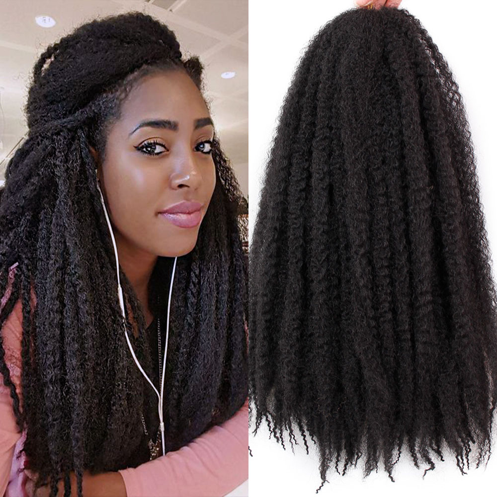 18 Inch Pure Color Marley Braids Hair Crochet Afro Kinky Synthetic Braiding Hair Crochet Braids Hair Extensions Bulk Black Brown