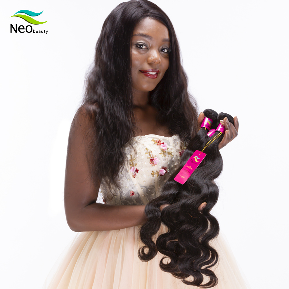 Neobeauty 10A Human Hair Bundles 1/3/PCS Brazilian Body Wave Bundles Natural Black Virgin Human Hair Weave Bundles 8 - 40 Inch