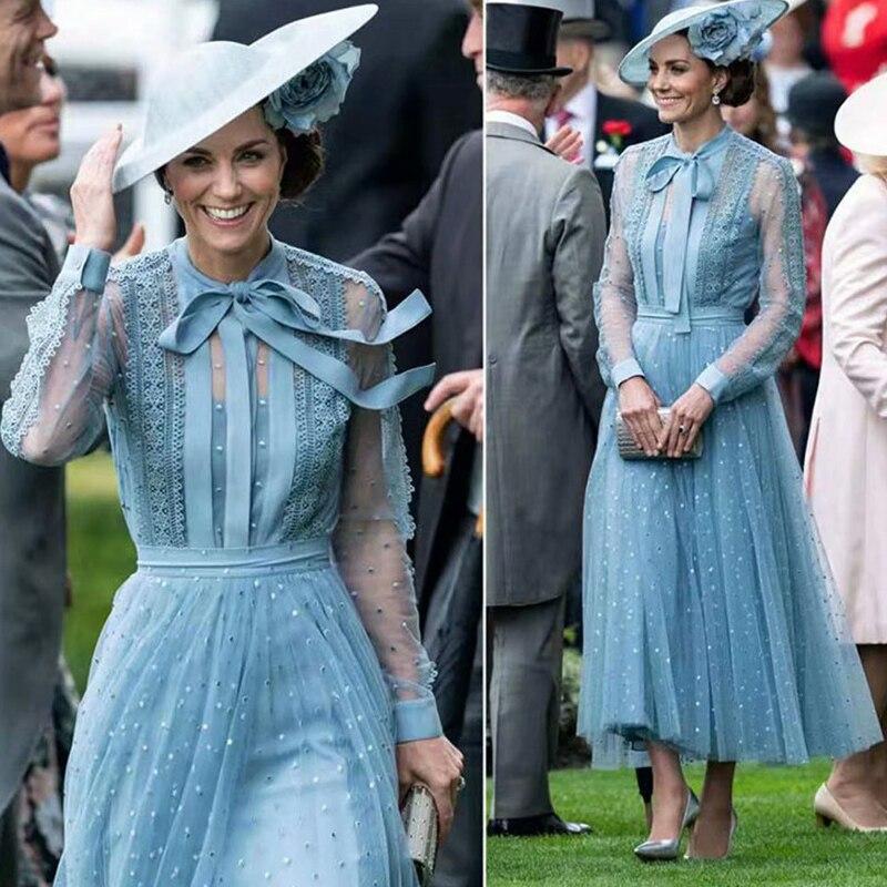 Kate Middleton longue robe de haute qualité femmes mode travail fête Sexy Vintage élégant Chic broderie à manches longues robes