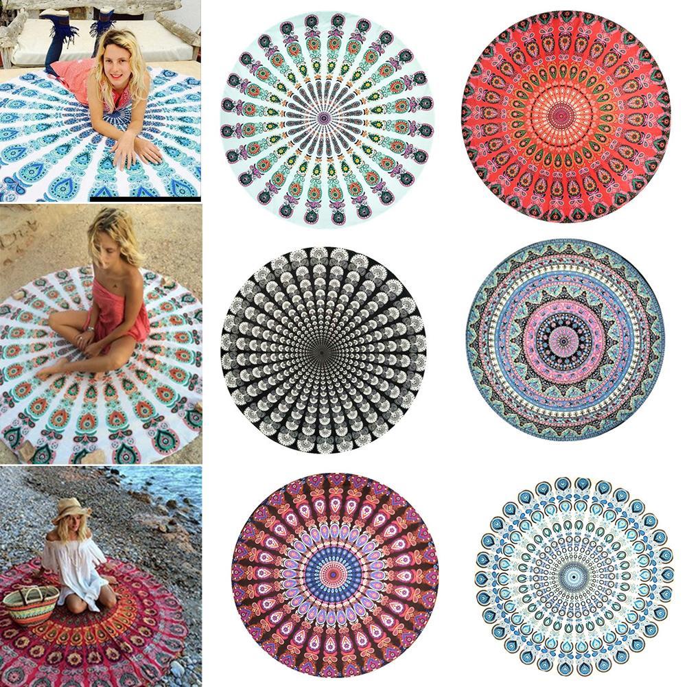 Round Chiffon Anti-sunlight Shawl Beach Towel Outdoor Yoga Picnic Mat NEW