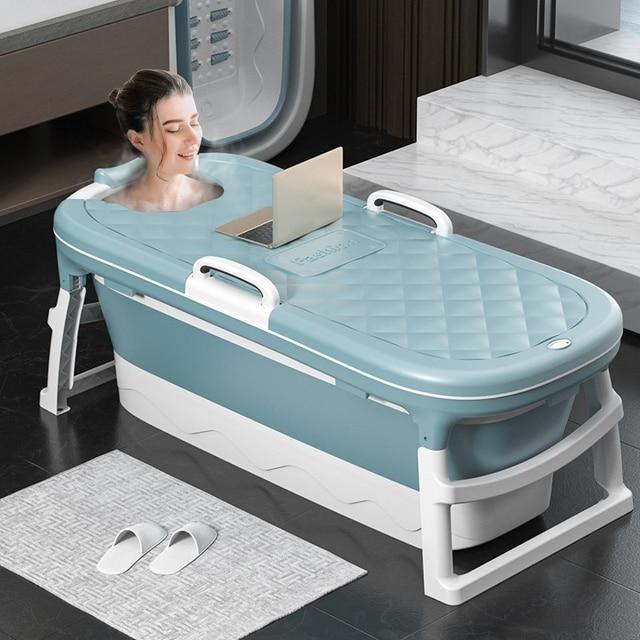 1.38m Large Bathtub Adult Children's Folding Tub Massage Adult Bath Barrel Steaming Dual-use Baby Tub Home Spa Home Sauna 2size 1