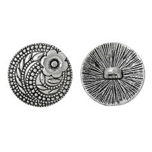 "Zinc metal alloy Jeans Button Metal Buttons Round silver color Single Hole Flower 17mm( 5/8"")Dia,7 PCs(China)"