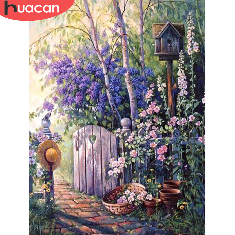 HUACAN Diamond Painting Beaded Scenery Cross-Stitch Landscape Home-Decoration Full-Set title=