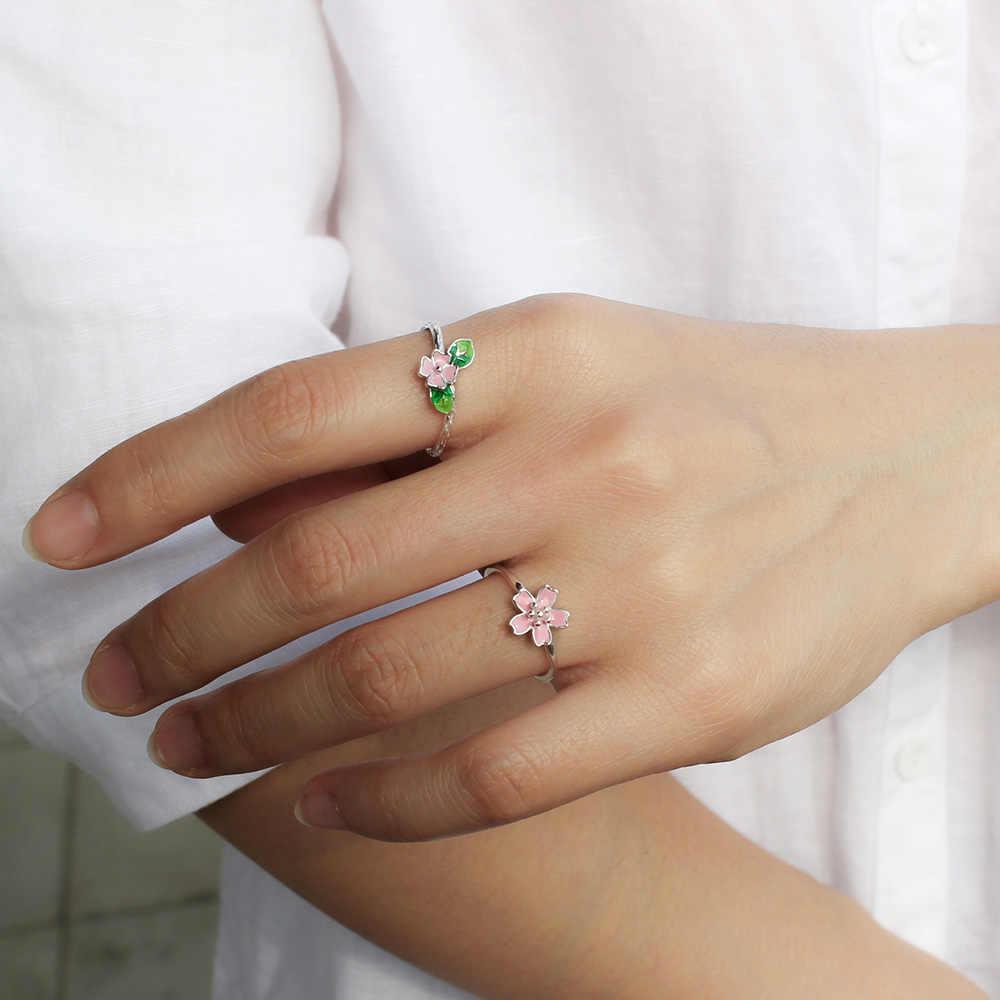 Trusta 2018 הגעה חדשה פרח ירוק עלה סניף טבעת פתיחת מתכוונן אצבע טבעת 100% 925 סטרלינג אמיתי כסף תכשיטי DS580