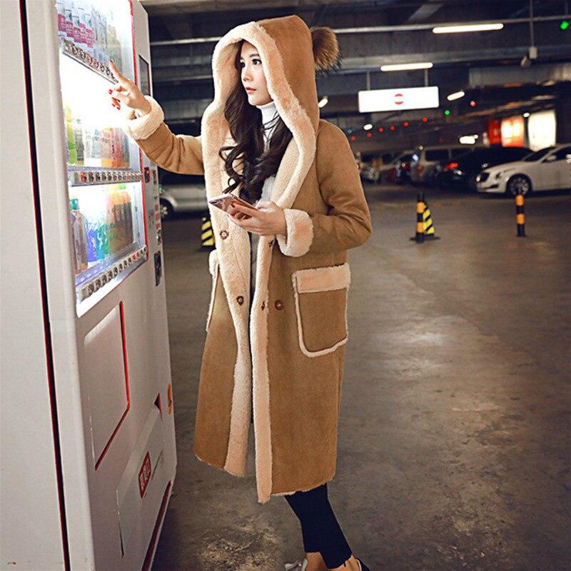 Winter Long   Suede     Leather   Jacket Women Plus Size Female Hooded Faux Fur Lined   Suede   Jacket Woman Coat Large Ladies Windbreaker