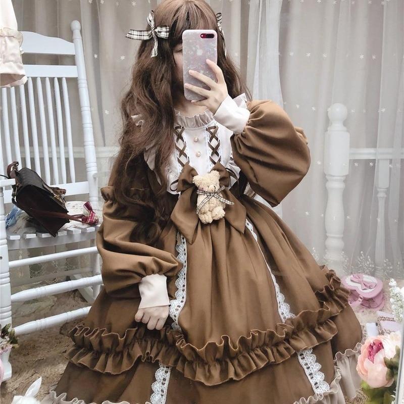 Japanese Gothic Lolita Dress Women Kawaii Bow Bear Lace Blue Dress Long Sleeve Princess Dress Halloween Costume Gift For Girls 10