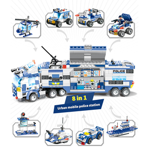 Image 3 - 762PCS City Police Series Building Blocks 8 in 1 Vehicle Helicopter City Police Station Compatible DIY Bricks Blocks Toys Kids
