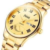Mens Relógios Top Marca de Luxo PREMA Rolexable 30 Metros À Prova D' Água Homens Calendário de Aço Relógio de Quartzo Relógio de Ouro Relogio masculino|Relógios de quartzo| |  -