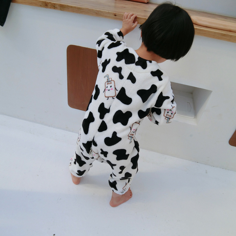 Baby Home Wear 2019 Winter New Style Plus Velvet Onesie Children Flannel Pajamas Men And Women Children Thick Sleeping Bag