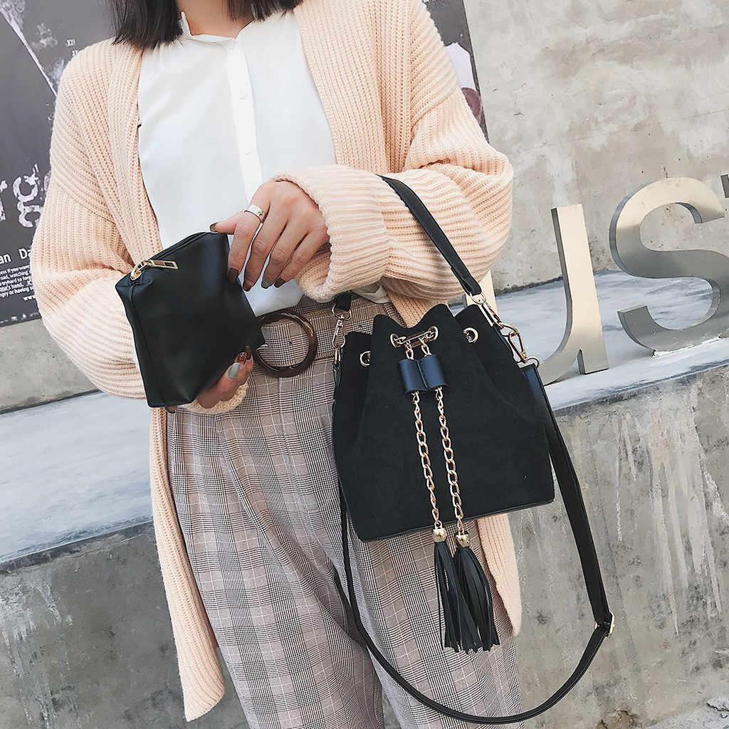 # H30 خمر الموضة الصغيرة المرأة جلدية دلو حقيبة يد شرابة الرباط حقيبة كتف رسول حقائب كروسبودي المحافظ