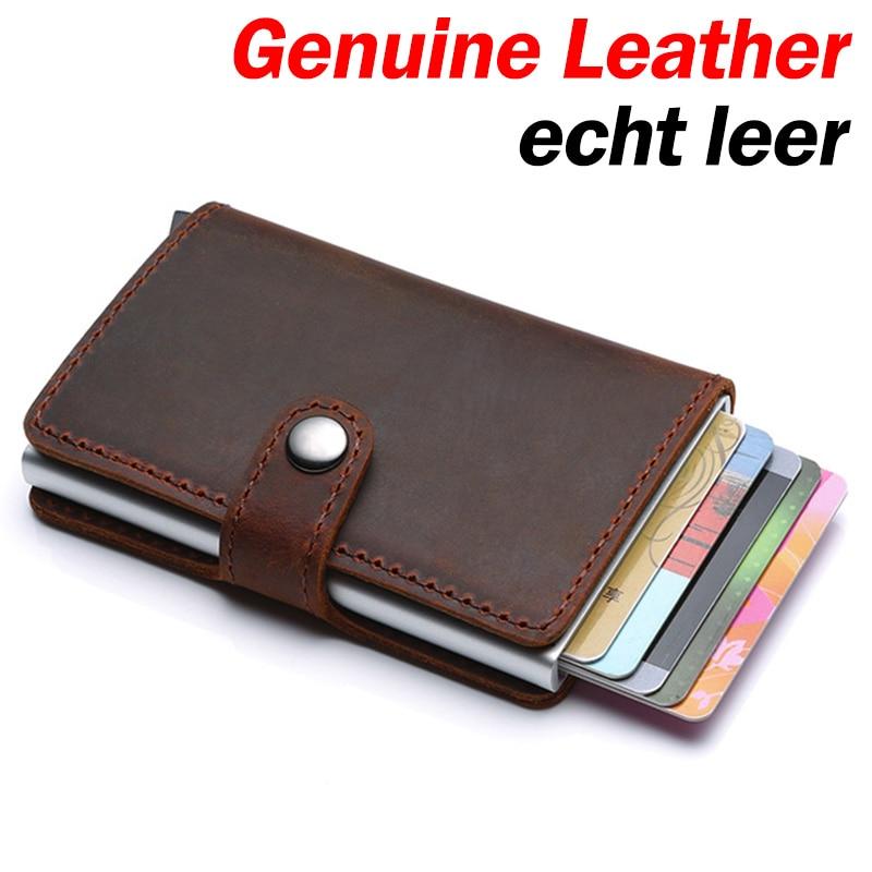 עור אמיתי גברים אשראי כרטיס בעל וו RFID חסימת ארנק מזהה כרטיס מחזיק בנק עסקי ארנקים ארנק לנשים כרטיסיםמחזיקי כרטיסים ותעודת זהות   -