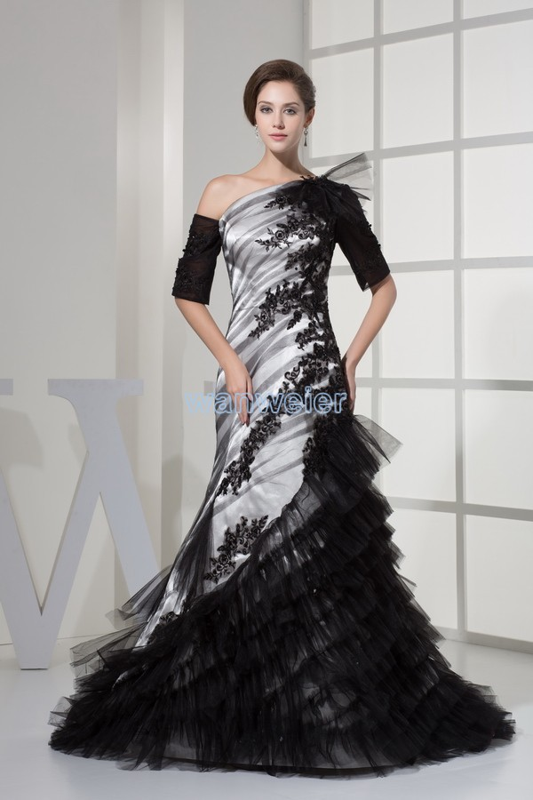 Free Shipping One Shoulder Half Sleeve Custom Size Designer Couture Evening Gowns Small Train Mermaid Appliques Evening Dress