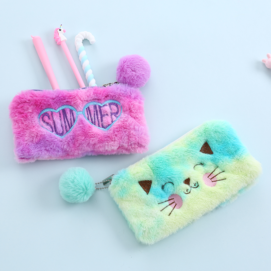Women Soft Plush Makeup Pouch With Fur Ball Student Cartoon Pencil Bag Rainbow Fur Love Cosmetic Bag Color Travel Washing Case