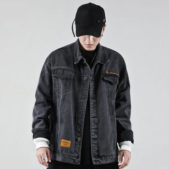 HKstyle Tooling Denim Jacket Men Fashion Hooded Casual Cotton Coats  Preppy Style Slim Fit  Designer Clothes Men's Coat Loose
