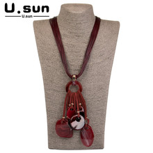 Vintage Long Necklaces Rope Chains Fashion Geometric Resin Pendant Necklace for Girls Women Acrylic Designer Jewelry Wholesale