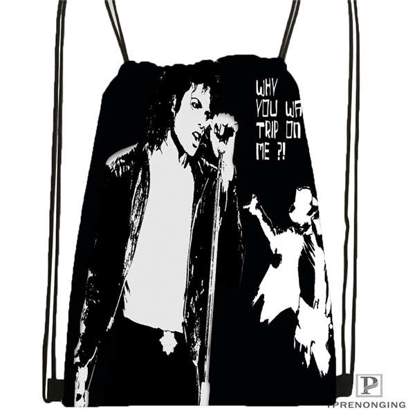 Custom Michael Jackson@03  Drawstring Backpack Bag Cute Daypack Kids Satchel (Black Back) 31x40cm#20180611-02-64