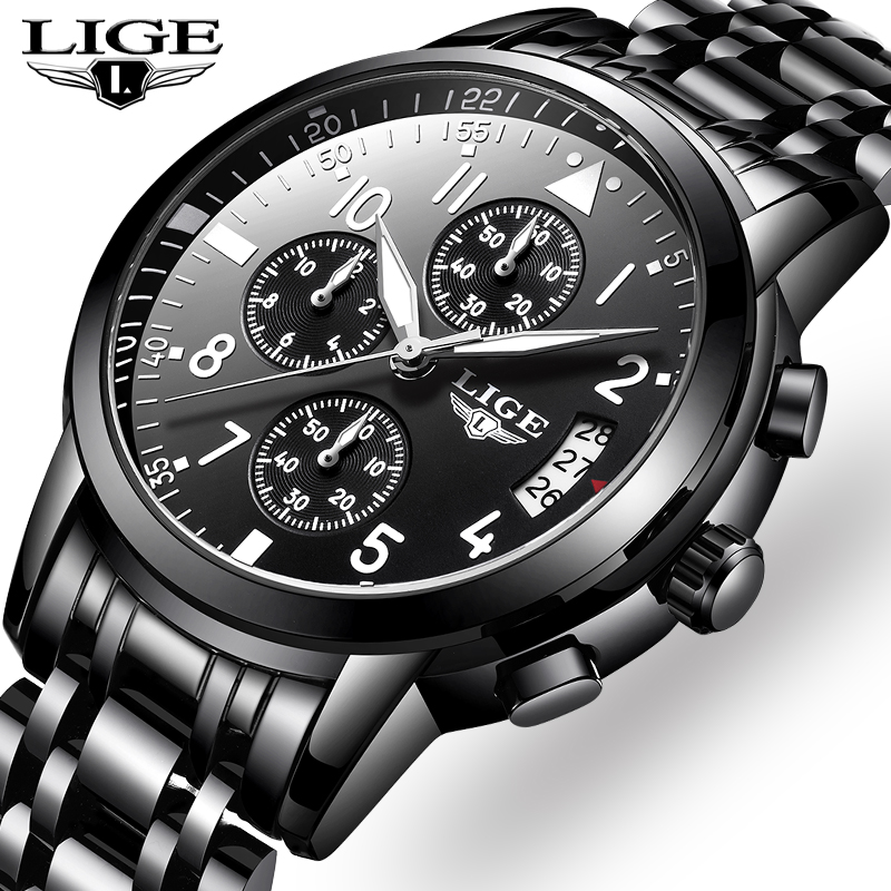 Men Watches LIGE Top Brand Luxury Business Chronograph Male Quartz Watch Men Casual Waterproof Military Watch Relogio Masculino